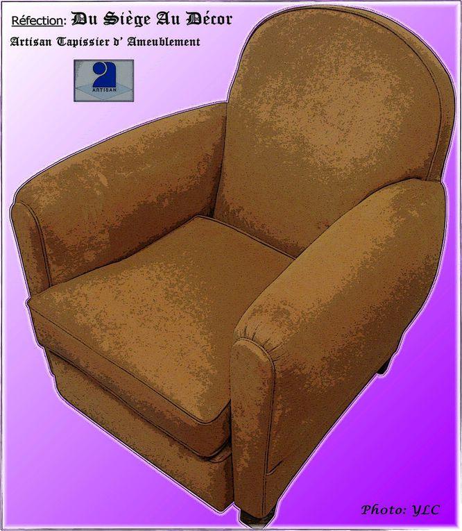 """Réfection en """"méthode traditionnelle"""" d'un fauteuil club..."""