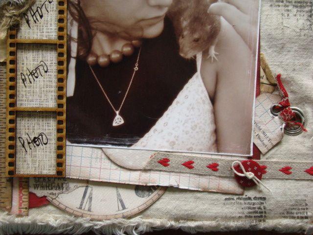 Un album composé de 8 pages 23x28cm, réalisées dans une cartonnette envelppée de lin, des dentelles et les papiers Tereas Collins et My Mind's Eye, collection Mars 2013!