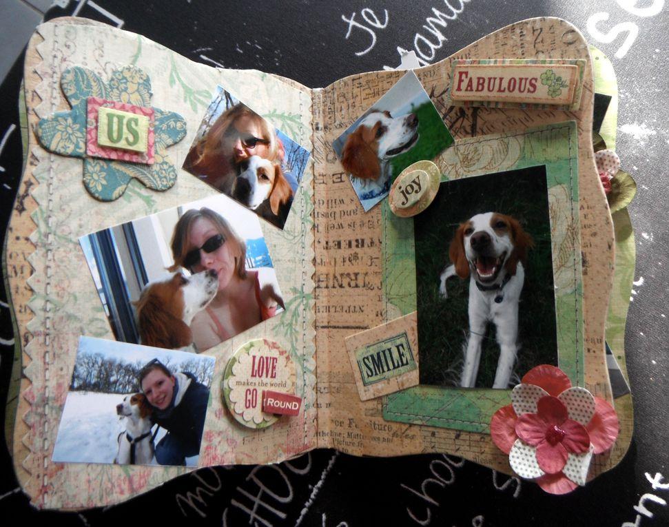 Des tons de verts, de roses !! J'adore notre page et celle avec son fabuleux sourire qui me fait rire à chaque fois que je la vois !! Mais aussi des pages avec plus de douceur...