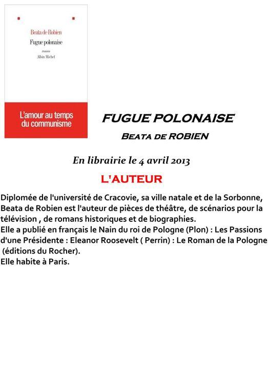 Fugue Polonaise - nouveau roman de Beata de Robien