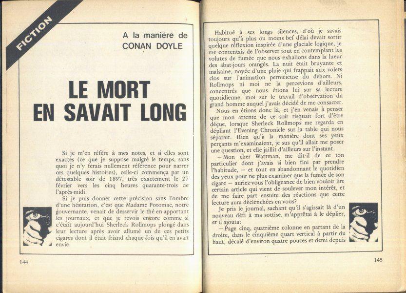 Interpolice n° 15, un récit de comptoir à la mode de Conan Doyle, Le Mort en savait long, 1973