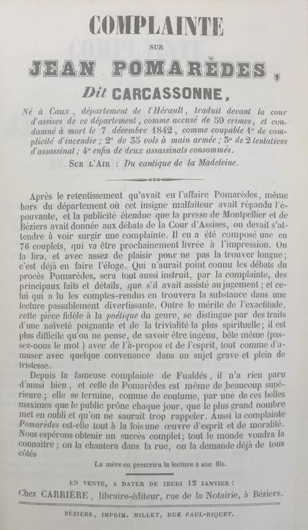 POMAREDES - LES EFFROYABLES COMPLAINTES DU XIXè siècle - livre mc Matray