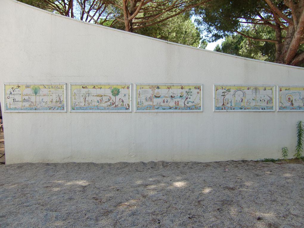 Mon allée - Les quais - Eglise St Augustin - Mosaïques - Vitraux - Plaque des 3 pouvoirs - intérieur de l'église - Mairie - Sculpture