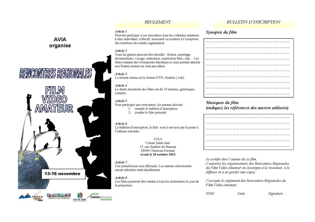 AVIA vous invite à inscrire votre film pour les rencontres du mois de novembre