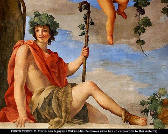Bacchus et ses pampres , Dyonisos radieux ou séducteur, que les valentinistes choisissent