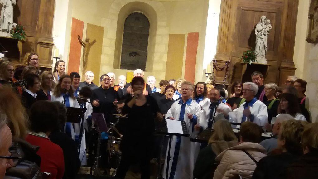 """Concerts à Saint Doulchard avec la Chorale """"Gospel au Coeur (Montluçon,Novembre2016), au Val D'Auron (Novembre 2016), à Avord avec la Chorale """"Septaine en Choeurs"""" (Avord) (Mars 2017), à Marmagne avec la Chorale """"Septaine en Choeurs (Juin 2017)."""