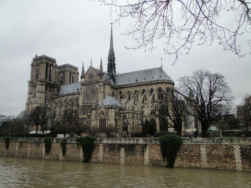 La cathédrale Notre-Dame de Paris - La Tour Eiffel vue du Pont Alexandre III