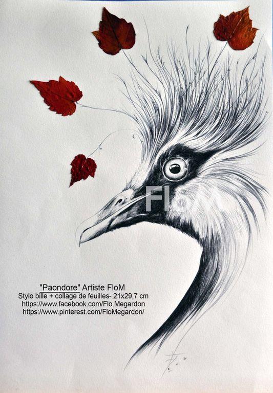 SÉRIE ANIMALIERE au stylo bille - Flo.M - 120€ le dessin (+15€  frais de port)  Certains dessins ont été vendu Renseignements : flo.plasticienne@gmail.com