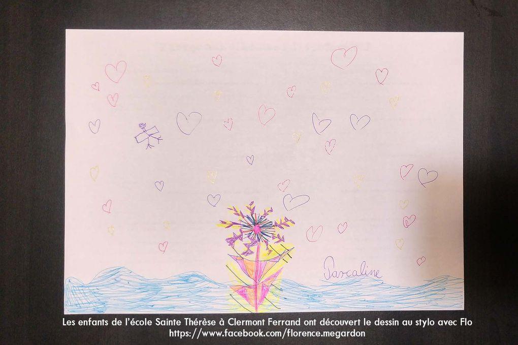 Dessins au stylo bille des enfants de l'école Sainte Thérèse de Clermont Ferrand réalisés avec Flo.M
