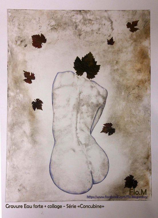 """Gravure eau forte et collage végétale, série """"Concubine"""" (chaque gravure est un monotype, soit unique!) Format 20 x 30 cm - 120€ (avec cadre compris - sans frais de port)"""