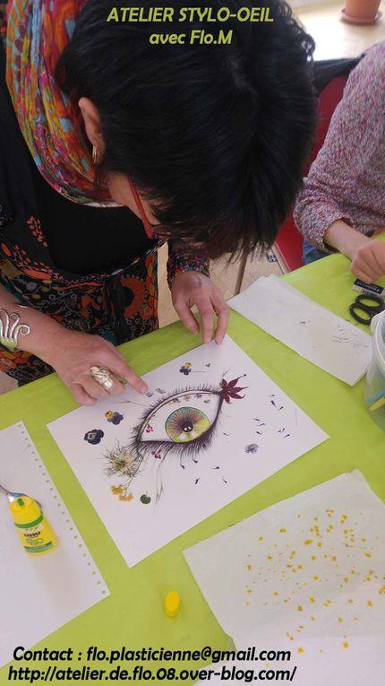 Dessins d'un oeil au stylo bille Noir et Couleur + collage de végétaux