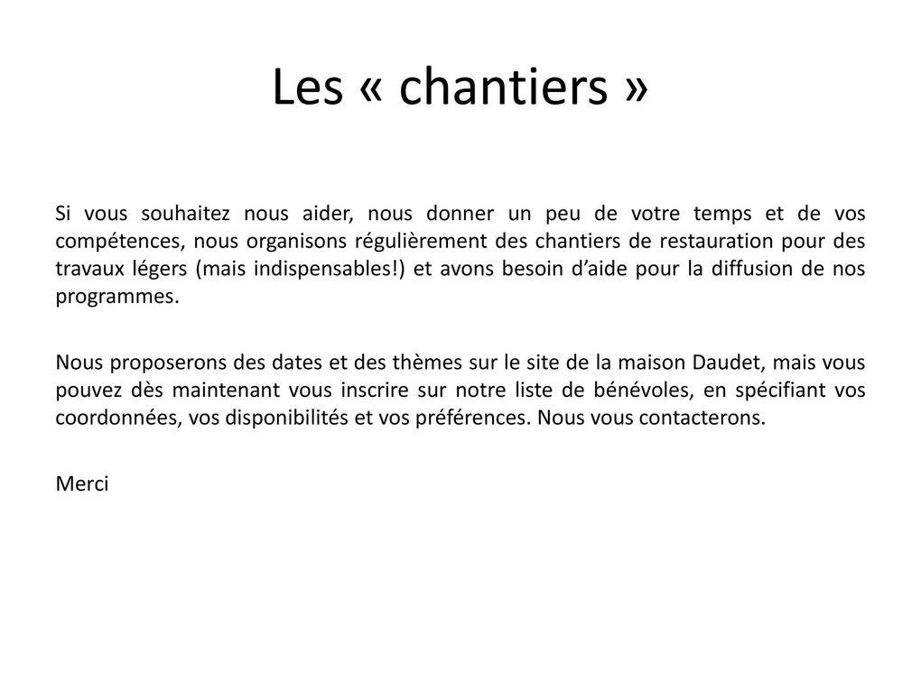 Maison Daudet: dons, adhésions, bénévolat