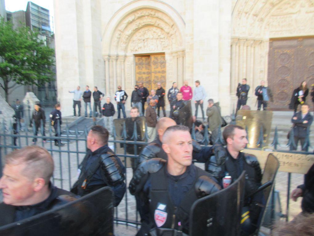 [Vidéo et Photos] 4 mai : les mal logé-e-s et leurs soutiens expulsé-e-s violemment de la Basilique, Nuit Debout sur les violences policières