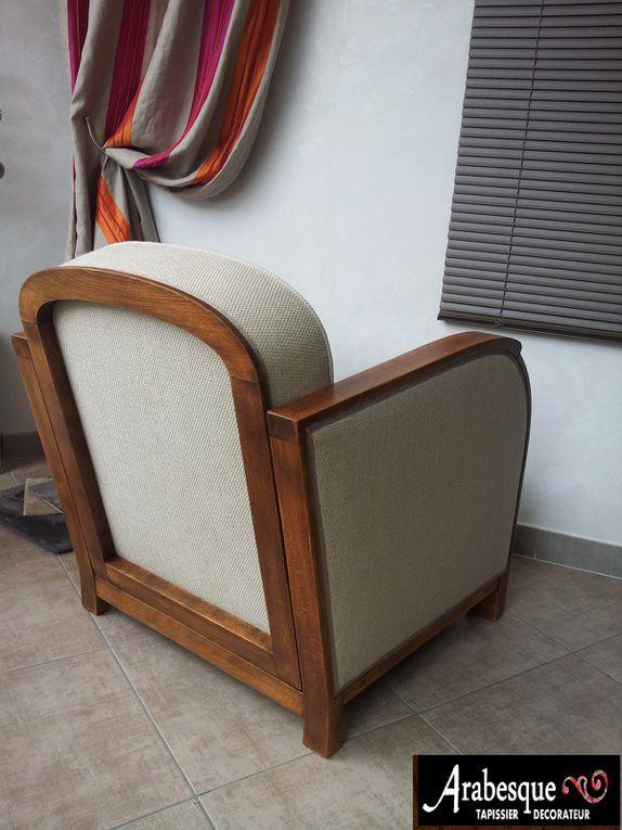 refection fauteuil années 1930 arabesque tapissier decorateur thiers tissu Manuel Canovas lin
