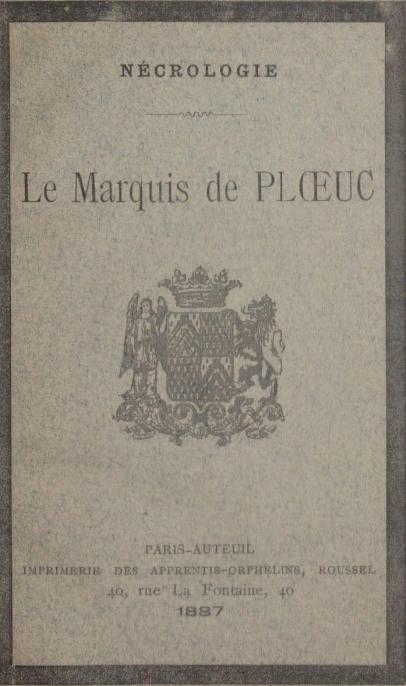 Nécrologie : le marquis de Ploeuc, 1887