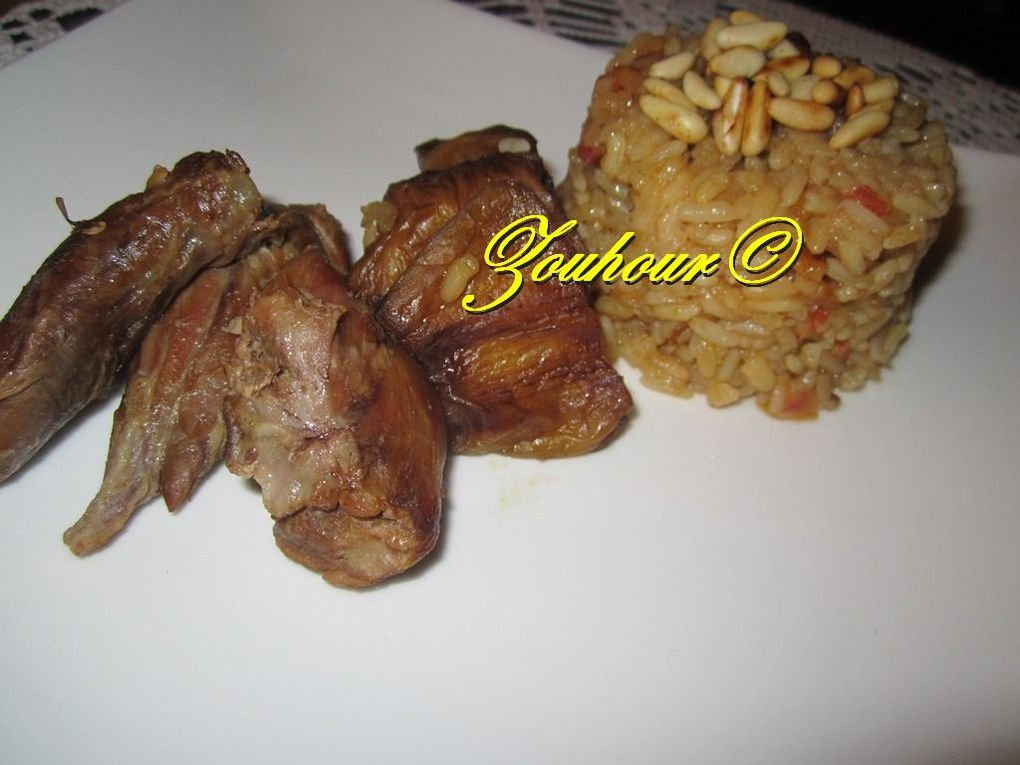 Makloubeh Aubergine et Viande d'Agneau Renversé( Eggplant on Lamb and Rice upside down)