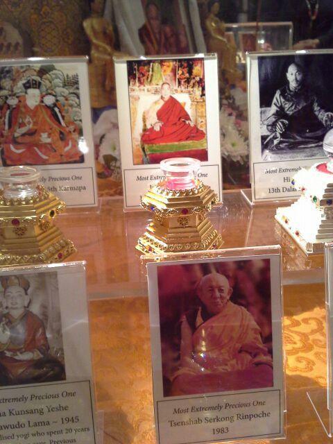 La collection comprend des reliques d'Ananda, Sharipoutra, Lama Atisha, Lama Tsongkhapa, Milarépa, Lama Yéshé, Ribur Rinpoché et divers autres grands maîtres bouddhistes.  Lama Zopa Rinpoché a rassemblé cette collection unique de reliques sacrées pour mettre au cœur d'une immense statue à venir, dans le cadre du Projet Maitréya. Disposées magnifiquement autour d'une statue dorée de taille humaine du Bouddha Maitréya, les reliques engendrent une atmosphère puissante qui suscite l'amour bienveillant.