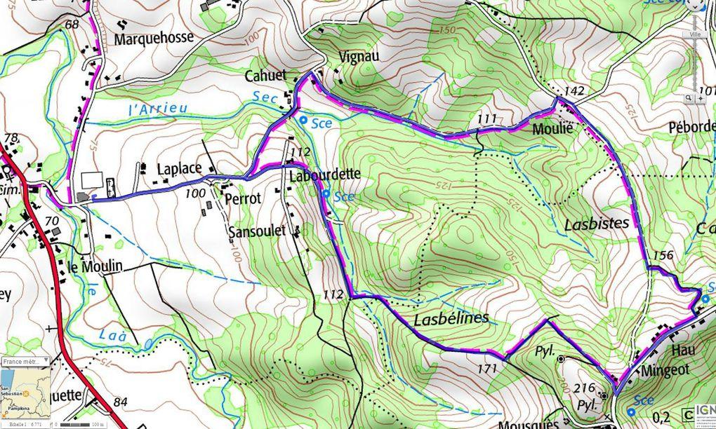 Randonnée entre Laà-Mondrans et Castetner (Pyrénées-Atlantiques 64) A