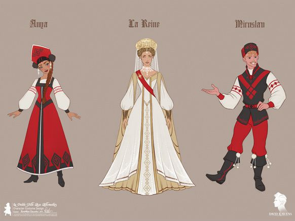 Principal Costume/Character Designs with Russian influence &#x3B;  Final design of the Queen's dress, and the imaginary world outfits of Anya and Miroslav &#x3B; The Imaginary World - Background/Set Drawing. © David Kawena and The cast of the show © Alfred Perrin Photographies