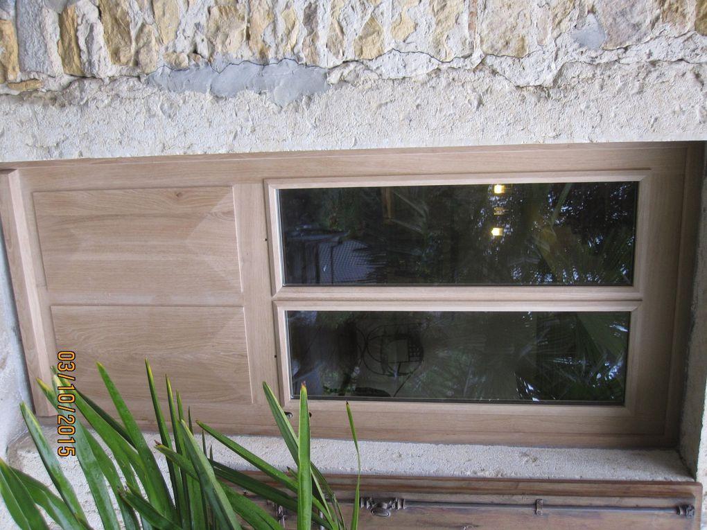 porte entrée chêne massif, épaisseur 58 mm, vitrage securit feuilleté, serrure 3 points, panneaux point diamant à table saillante