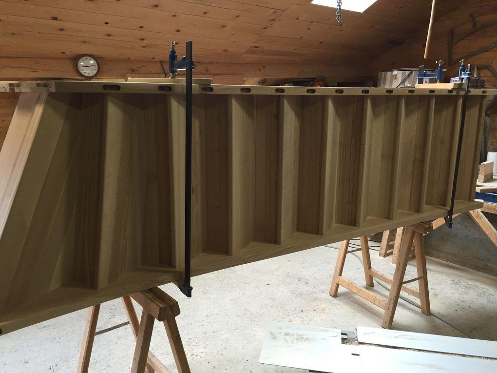 montage d'un escalier, conception et fabrication par menuiserie traditionnelle le bois des huiles, Savoie