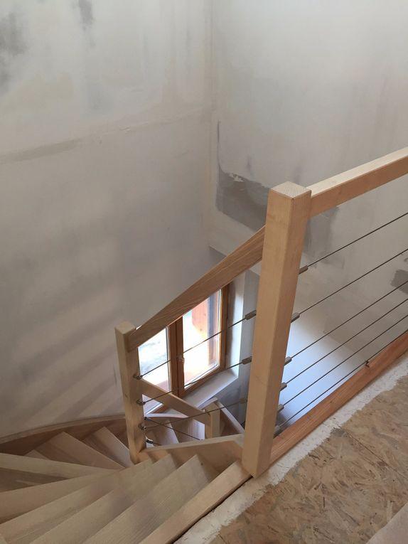 Fabrication et pose escalier balancé et câbles inox