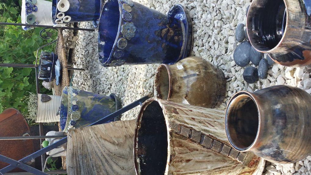 Pots en grès pour le jardin et cache pot en raku