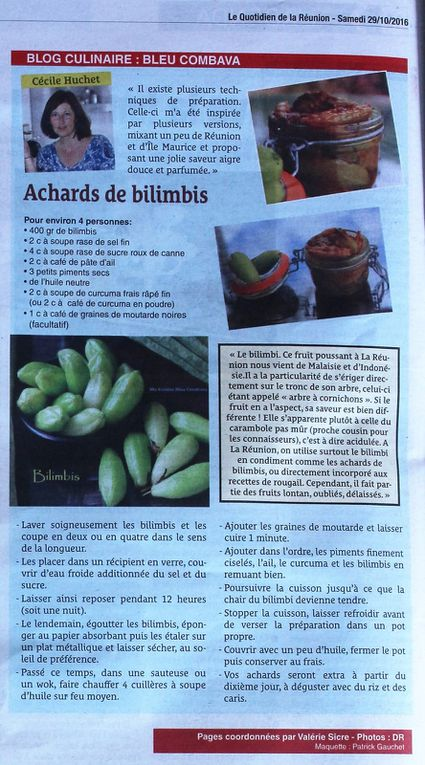 Une jolie double page pour promouvoir la cuisine dans le cadre de la semaine créole dans le Quotidien de la Réunion aujourd'hui. Et à mes côtés, mes copines blogueuses Ingrid des Voyages de Gridelle et Evelyne de Run Gourmandises