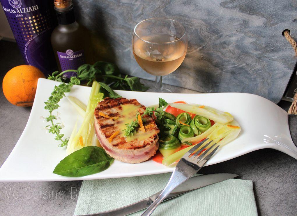 Mi-Cuit de Thon mariné à l'Orange-Croquant de Légumes- Émulsion Olive, Orange &amp&#x3B; Basilic