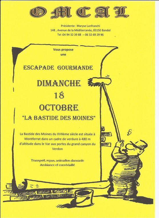 Samedi 12 septembre la sardinade   ** 24 septembre conférence sur la mémoire**18 octobre Escapade gourmande **25 octobre Bal des retrouvailles**