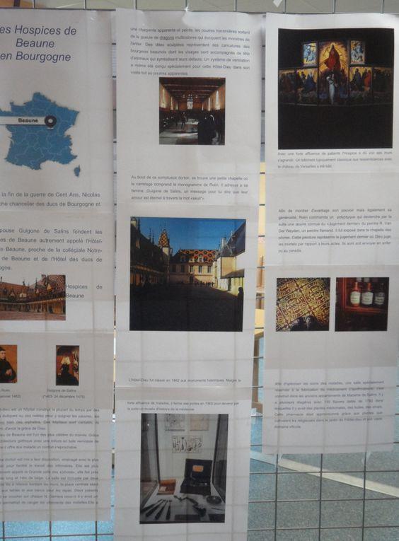 Exposition d'affiches réalisées par les 1S1 et 1ES1 suite aux sorties à Beaune et dans la Loire