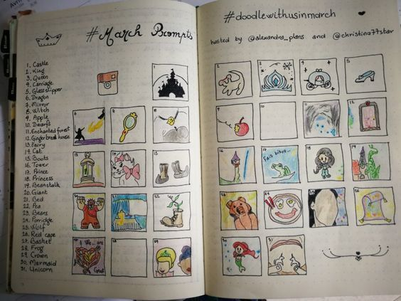 "Agenda pro - Doodle with us in january & in march - trackers et gratitudes - pages de garde avril et juin - dessins ""draw so cute with Wennie"" - liste des anniversaires - dessins en noir et blanc"