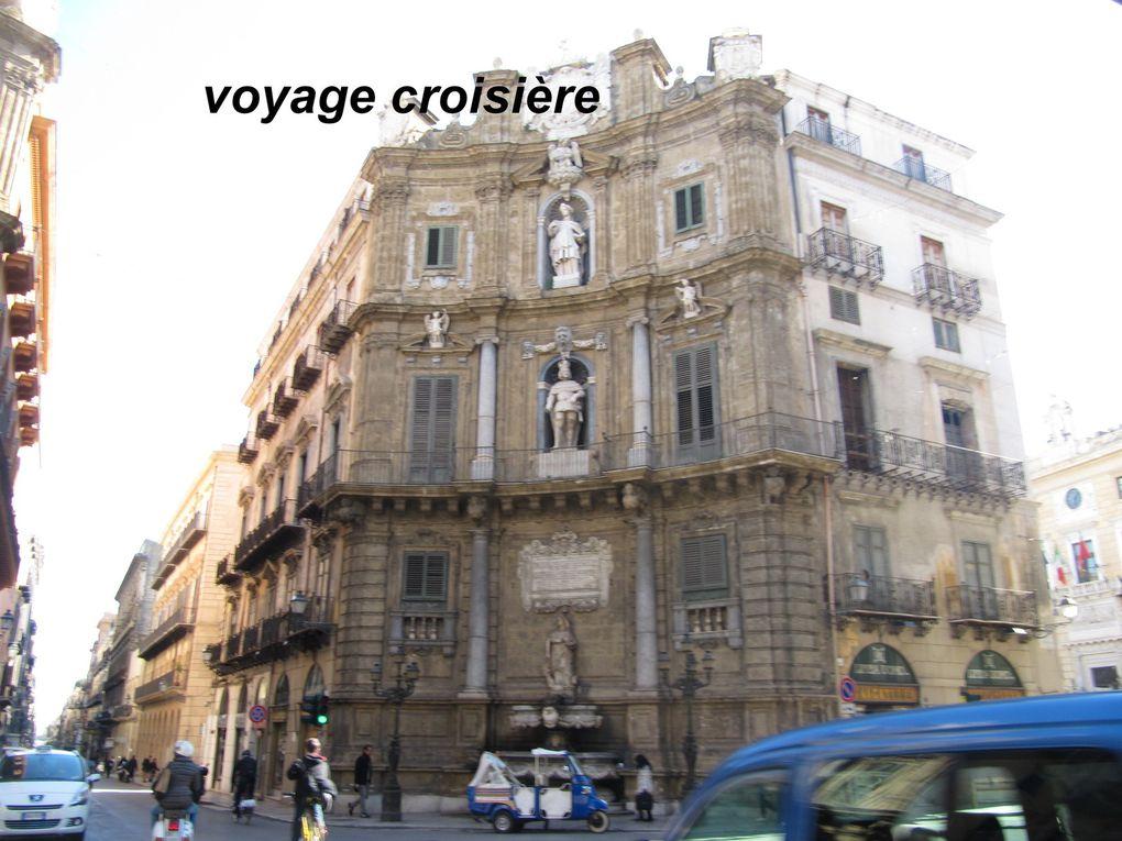 Le théâtre Massimo (avec ses colonnes), la cathédrale. Cliquer sur la photo pour le défilement