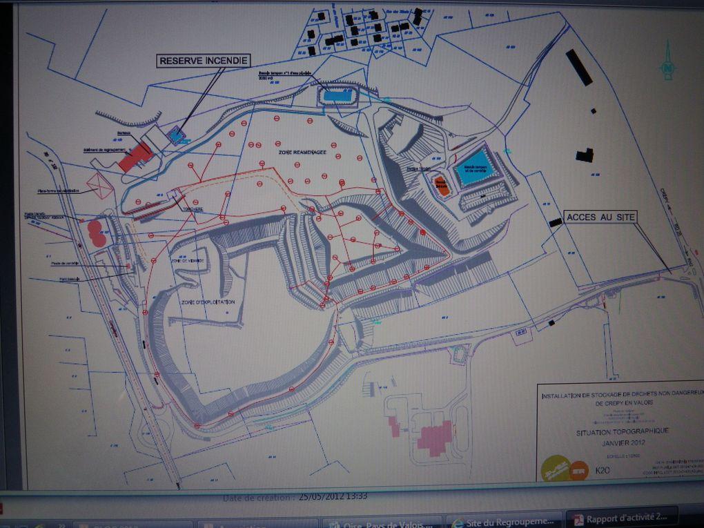 Plan, coupe, plateforme de valorisation du biogaz et situation actuelle de l'ISDND de Crépy en Valois