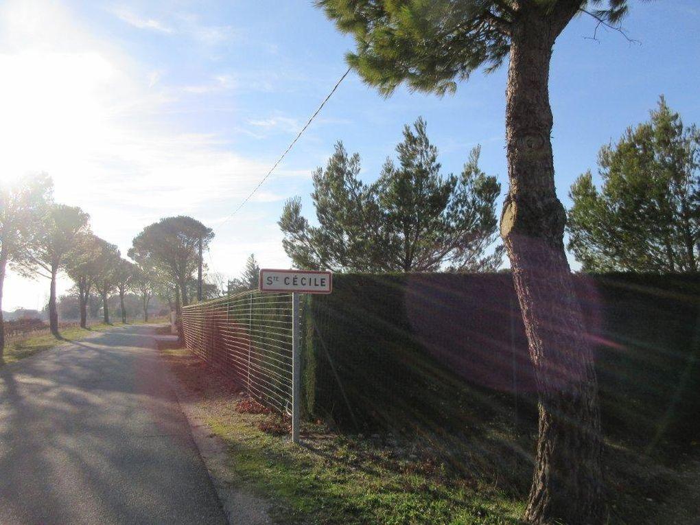 Et c'est l'arrivée à Ste Cécile, tout le long de notre tracé accompagné par le soleil.