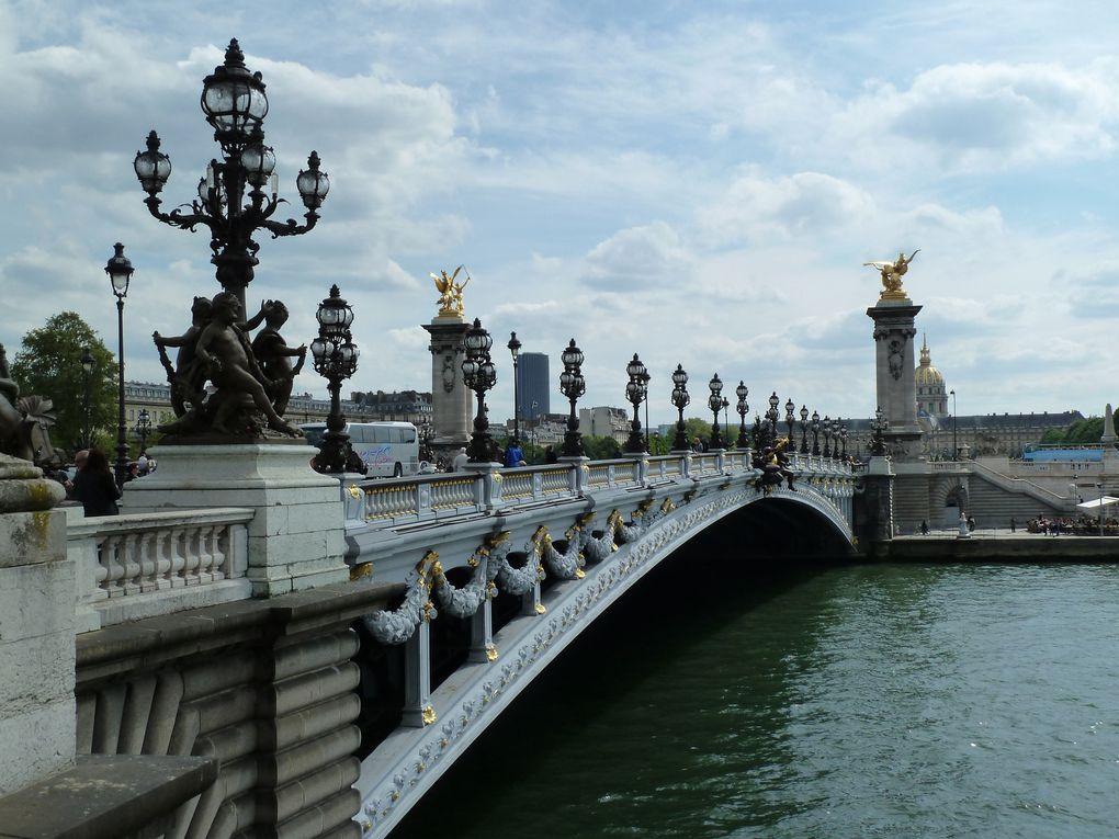 Les berges rive gauche, le pont Alexandre III et la passerelle Léopold Senghor.