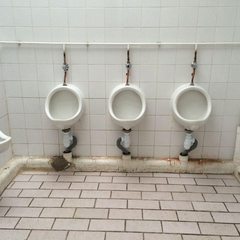 Novembre 2013 et 2014: La vérrière des toilettes, souvent couverte de papier mouillé... les distributeurs de papier plein...le plafond avec du papier collé...