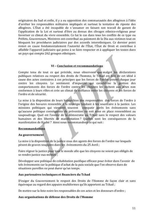 Rapport de la Ligue Tchadienne des Droits de l'Homme  : &quot&#x3B;De la torture aux massacres&quot&#x3B;