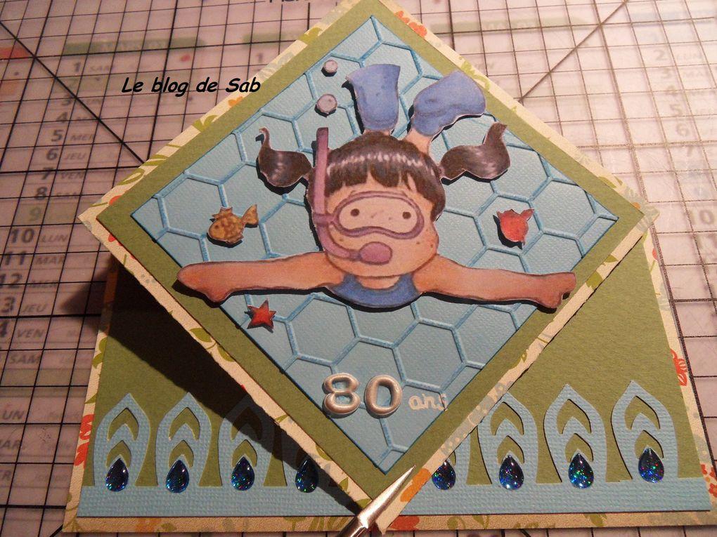 Carte anniversaire femme 80 ans  &quot&#x3B;nageuse&quot&#x3B;