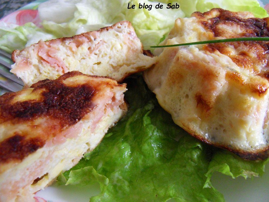 Petits flans au saumon, oeufs brouillés et ciboulette