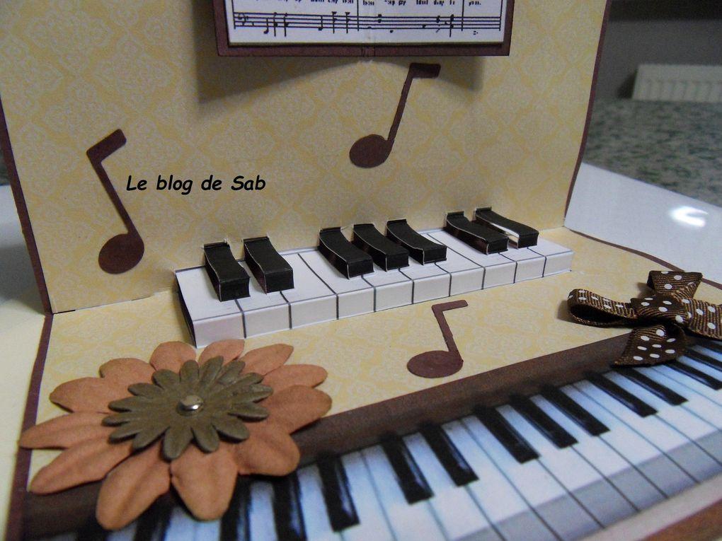 Carte de noël  piano en 3D