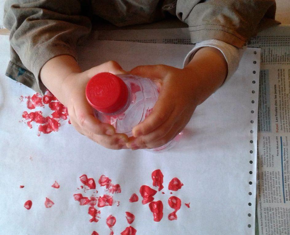 Peinture avec une bouteille de coca