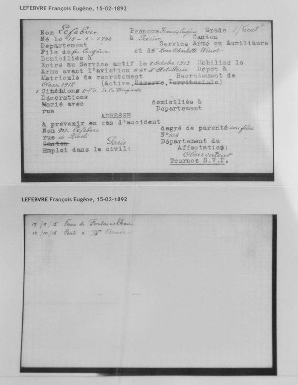 Vitrail de François Lefebvre et sa fiche matricule (Cliquez sur les photos)