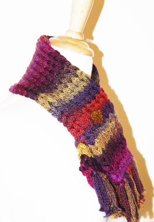 Echarpe col en pure laine multicolore au tricotin