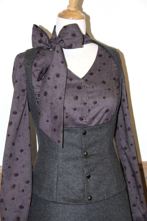 Gilet tailleur ajusté en laine grise