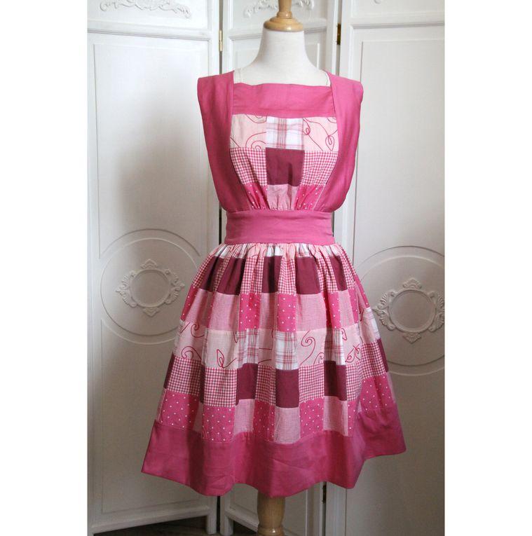 Robe tablier patchwork rose style Sarah Kay