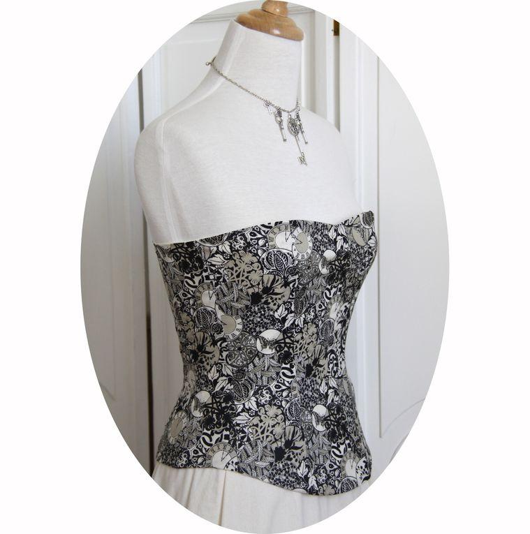 Bustier- corset Steampunk noir et ivoire