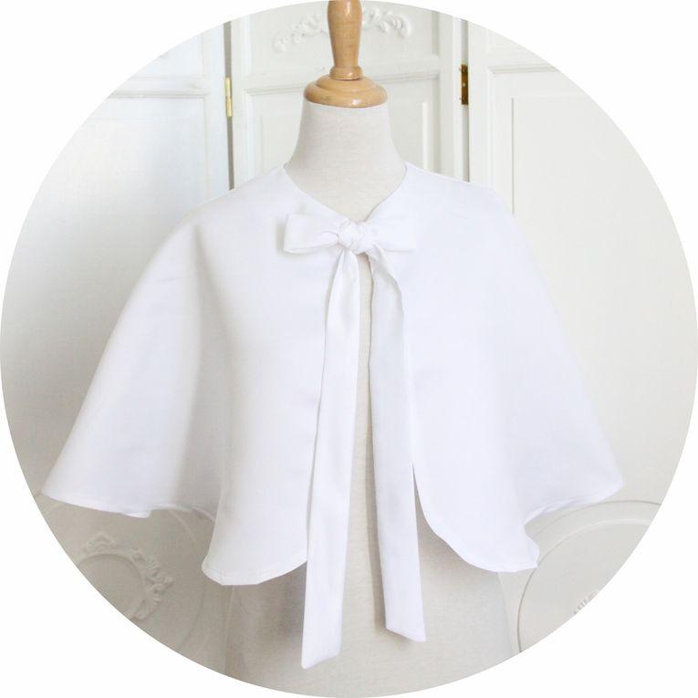 Capeline de mariage en taffetas blanc pur