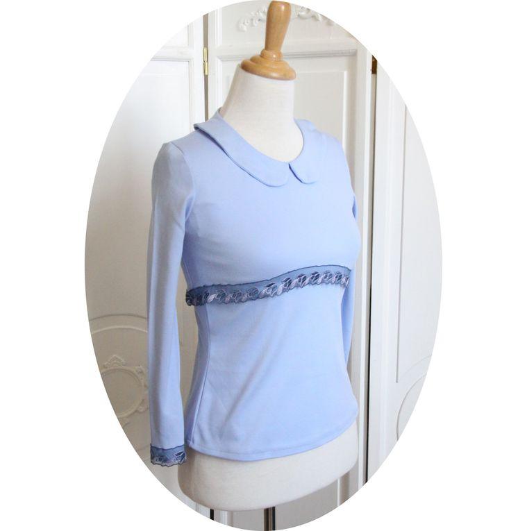Twin-set bleu ciel : T-shirt manches courtes et boléro court manches longues