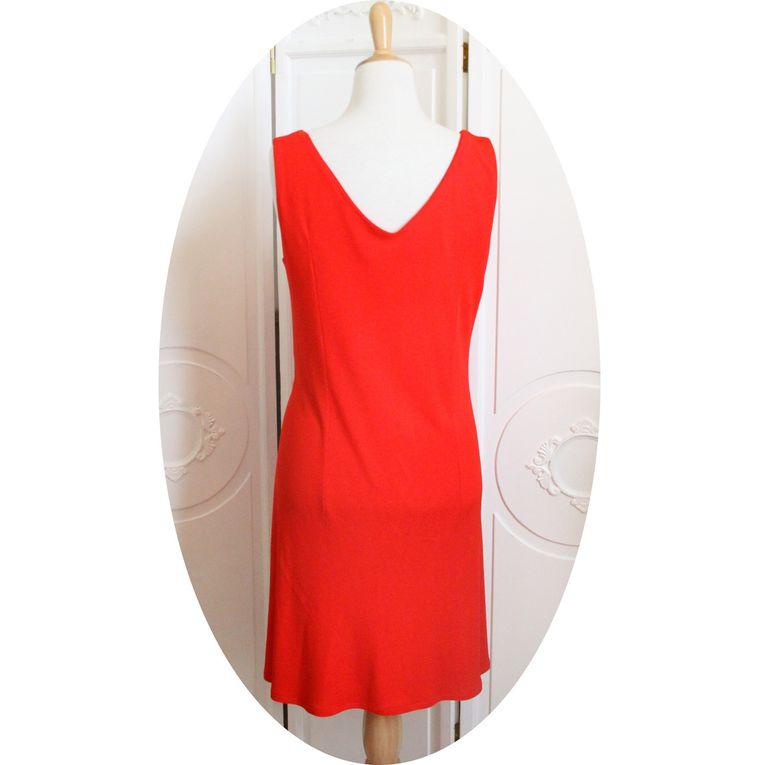 Robe portefeuille courte rouge vermillon